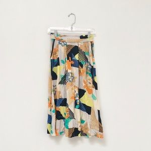 Multicolor Floral Midi Skirt by Warehouse / S